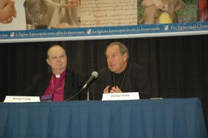 Bishop Shaw briefs the media covering the General Convention on July 9.