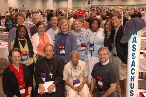 Massachusetts deputies and bishops:  (front row, from left) Lallie Lloyd, M. Thomas Shaw, SSJE, Barbara Harris, Ian Douglas; (middle row) Karen Montagno, Helen Gordon, Gale Davis Morris, Becky Alden, Gayle Harris, Jane Gould, Sam Gould; (back row) Mally Lloyd, Rob Hensley, Chris Ashley, Bud Cederholm