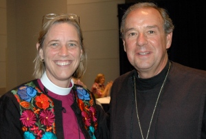 Bishop Laura Ahrens of Connecticut and Bishop M. Thomas Shaw, SSJE, on the floor of the House of Bishops today.